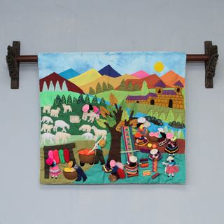 Handmade Applique 'Working with Wool' Wall Hanging (Peru)