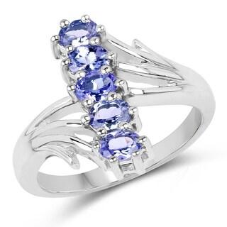 Malaika .925 Sterling Silver  7/8ct TGW Genuine Tanzanite Ring