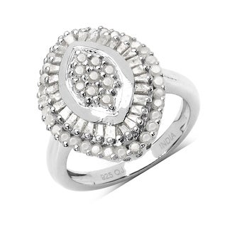 Olivia Leone 1.07 Carat Genuine White Diamond .925 Sterling Silver Ring