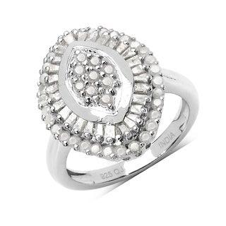 Olivia Leone 1.07 Carat Genuine White Diamond .925 Sterling Silver Ring