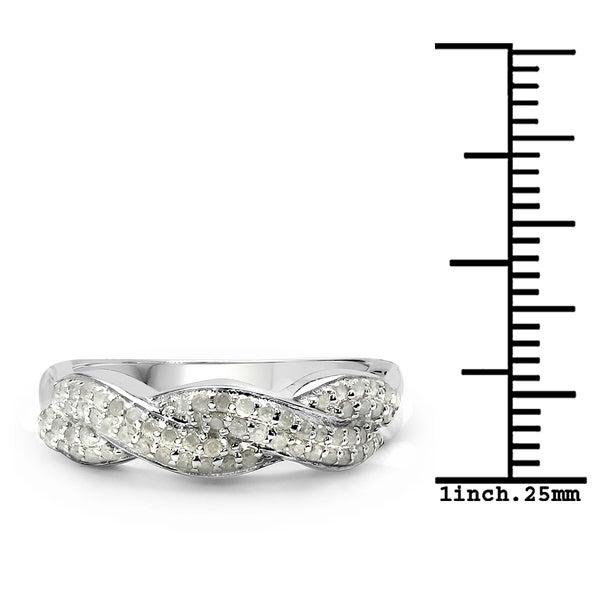 0.32 Carat Genuine White Diamond .925 Sterling Silver Ring
