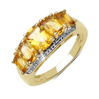 Olivia Leone .925 Sterling Silver and 14k Yellow Goldpplated 2 1/2ct TGW Genuine Citrine Ring