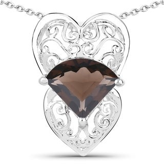 Malaika .925 Sterling Silver 6 7/8ct TGW Genuine Smoky Quartz Pendant