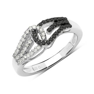 Olivia Leone 0.34 Carat Genuine Black Diamond and White Diamond .925 Sterling Silver Ring