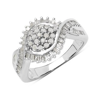 Olivia Leone 0.93 Carat Genuine White Diamond .925 Sterling Silver Ring