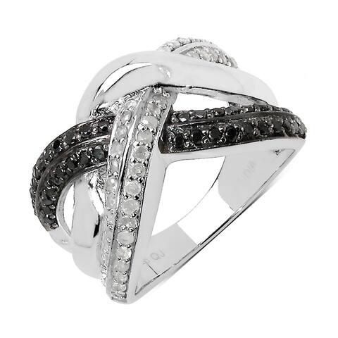 Olivia Leone 0.55 Carat Genuine Black Diamond and White Diamond .925 Sterling Silver Ring