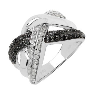 Olivia Leone 0.55 Carat Genuine Black Diamond and White Diamond .925 Sterling Silver Ring