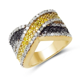 Malaika 14K Yellow Gold Plated 1.43 Carat Genuine Black Diamond, White Diamond and Yellow Diamond .925 Sterling Silver Ring