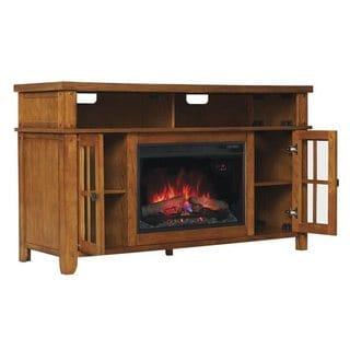 Dakota TV Stand Contemporary Infrared Quartz Fireplace - Premium Oak