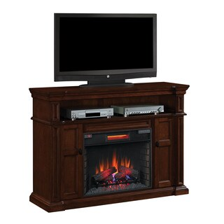 Wyatt TV Stand with 28-inch Infrared Quartz Fireplace - Vintage Mahogany