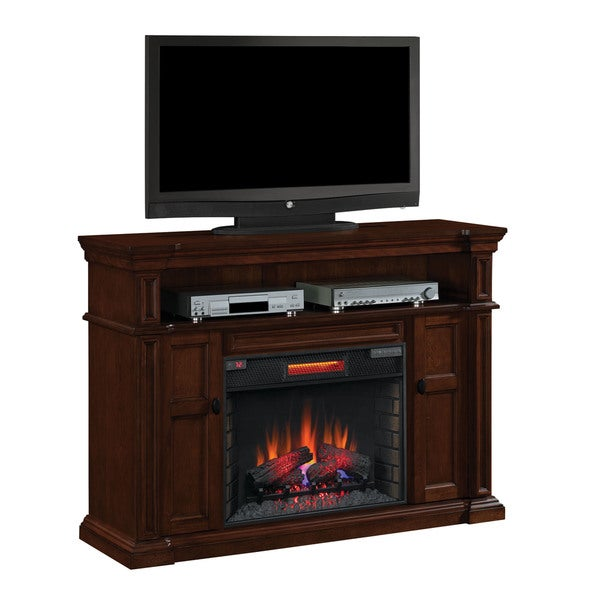 shop wyatt tv stand with 28 inch infrared quartz fireplace vintage mahogany free shipping. Black Bedroom Furniture Sets. Home Design Ideas