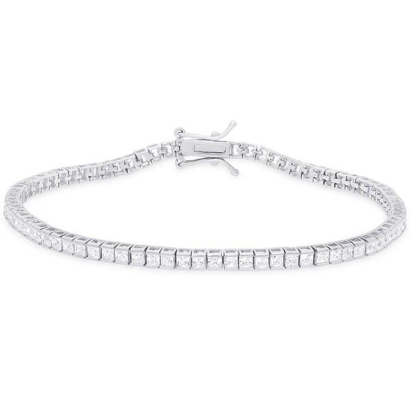 Dolce Giavonna Sterling Silver Cubic Zirconia Tennis Bracelet