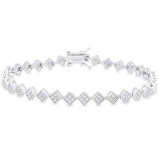 Samantha Stone Sterling Silver Cubic Zirconia Link Bracelet