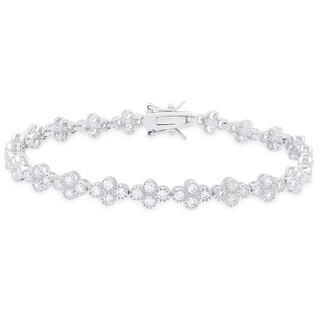 Samantha Stone Sterling Silver Cubic Zirconia Flower Design Bracelet