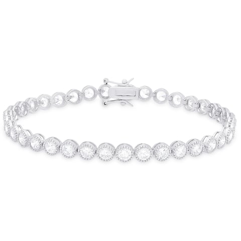 Dolce Giavonna Sterling Silver Cubic Zirconia Tennis Bracelet