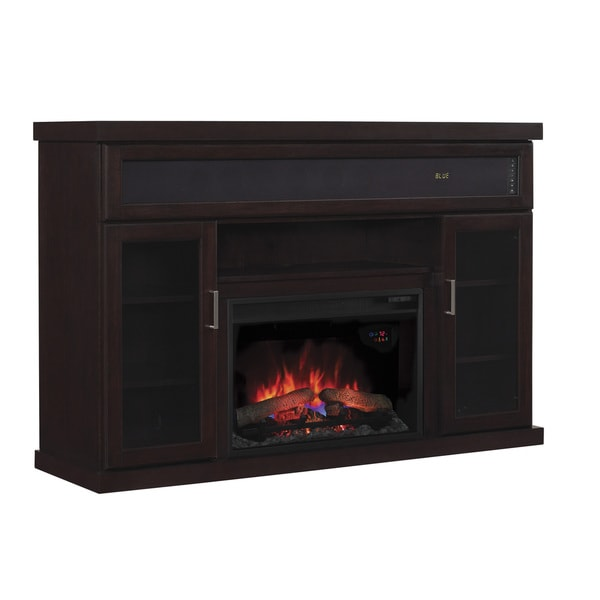 Tenor Tv Stand With Speakers With 26 Inch Contemporary Infrared Quartz Fireplace Espresso