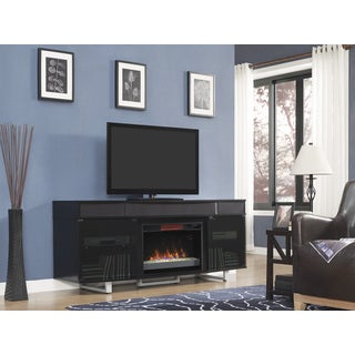 Enterprise TV Stand with Speakers with 26-inch Contemporary Infrared Quartz Fireplace - Gloss Black