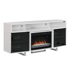Enterprise Lite Contemporary TV Stand with 26-inch Contemporary Infrared Quartz Fireplace - Gloss White