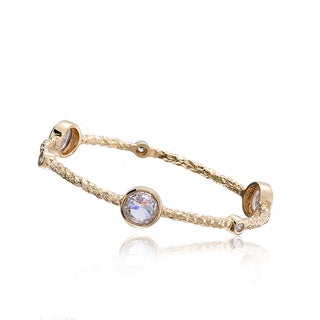 Radiance Bijou By Riccova Country Chic 14k Goldplated Blue Faceted Crystals 3-row Snake Bangle