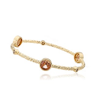 Radiance Bijou By Riccova Country Chic 14k Goldplated Champagne Faceted Crystals 3-row Snake Bangle