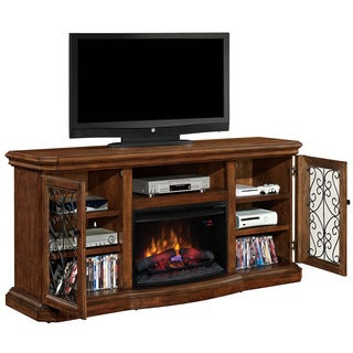 Beauregard TV Stand with 26-inch Contemporary Infrared Quartz Fireplace - Antique Caramel