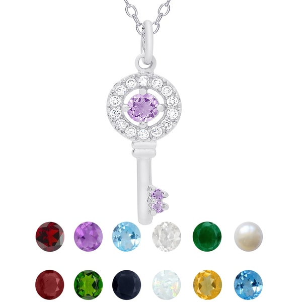 Dolce Giavonna Sterling Silver Birthstone and Cubic Zirconia Key Necklace