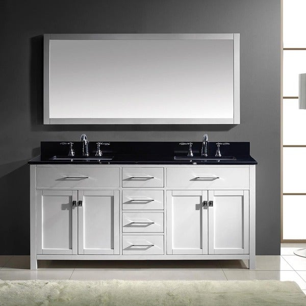 Caroline 72-inch White Double Vanity Black Granite Top with Mirror