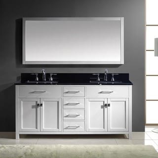 Virtu USA Caroline 72-inch Double Bathroom Vanity Cabinet Set in White