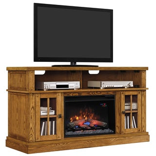 Dakota TV Stand with 26-inch Infrared Quartz Fireplace - Premium Oak