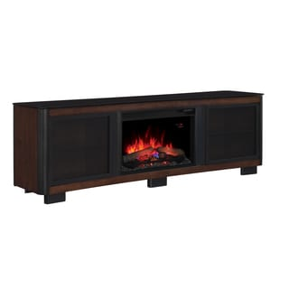 Manhattan TV Stand with 26-inch Electric Fireplace - Chocolate