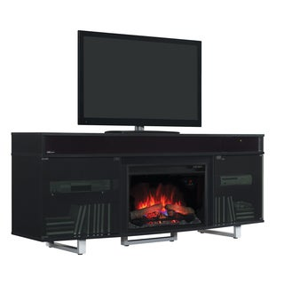 Enterprise TV Stand with Speakers with 26-inch Electric Fireplace - Gloss Black
