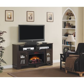 La Salle TV Stand with 26-inch Electric Fireplace - Oak Espresso