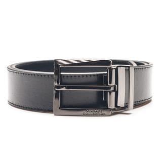 Versace Men's Black Leather Belt