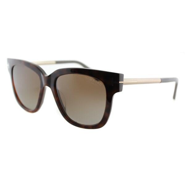 ce579777422b Tom Ford TF 436 Tracy 56H Brown Gradient Polarized Dark Havana Square  Sunglasses