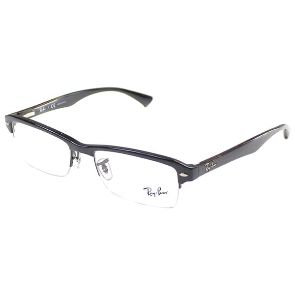 e9531404bf Shop Ray-Ban RX 7014 2000 Shiny Black Semi Rimless 52mm Eyeglasses ...