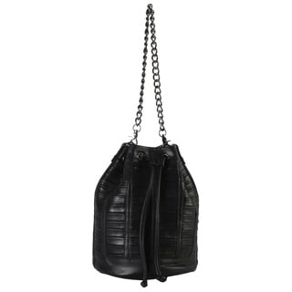 Rimen and Co. Genuine Leather Bucket Drawstring Closure Handbag
