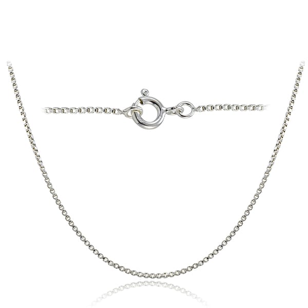 Mondevio High Polished Italian Box Chain Necklace in Lengths 16-30 Inches