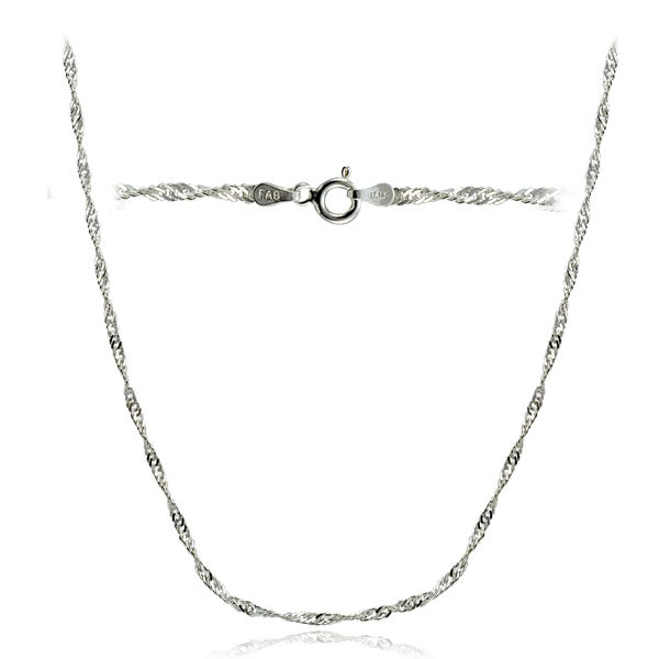 f712a5040e Mondevio High Polished 2.5mm Italian Singapore Diamond-cut Chain Necklace  in Lengths 16-