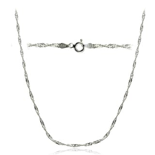 Mondevio High Polished 2.5mm Italian Singapore Diamond-cut Chain Necklace in Lengths 16-30 Inches