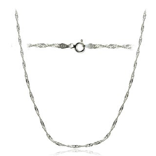 Mondevio High Polished 2.5mm Italian Singapore Diamond-cut Chain Necklace in Lengths 16-30 Inches (More options available)