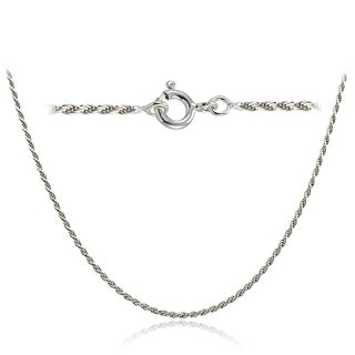 Mondevio High Polished 1.5mm Italian Twisted Rope Chain Necklace in Lengths 16-30 Inches (More options available)