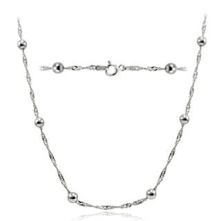 Mondevio High Polished 4.5mm Italian Singapore Twisted Chain and Bead Necklace in Lengths 16-30 Inches (Option: 16 Inch)|https://ak1.ostkcdn.com/images/products/11365330/P18336238.jpg?impolicy=medium