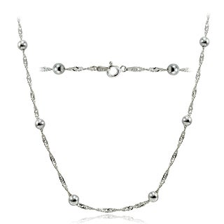 Mondevio High Polished 4.5mm Italian Singapore Twisted Chain and Bead Necklace in Lengths 16-30 Inches