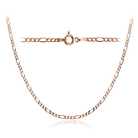 Mondevio High Polished 2.5mm Figaro Chain Necklace in Lengths 16-30 Inches