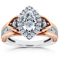 Annello by Kobelli 14k Two-Tone Gold 1ct TDW Marquise Diamond Engagement Ring