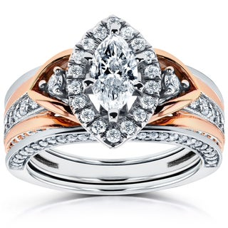 Annello by Kobelli 14k Two-Tone Gold 1 1/4ct TDW Marquise Diamond 3-Piece Bridal Set