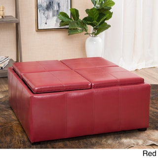 Dartmouth Four Sectioned Faux Leather Cube Storage Ottoman by Christopher Knight Home