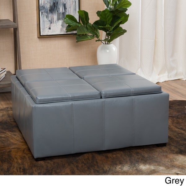 Dartmouth Four Sectioned Faux Leather Cube Storage Ottoman By Christopher  Knight Home   Free Shipping Today   Overstock.com   18336277