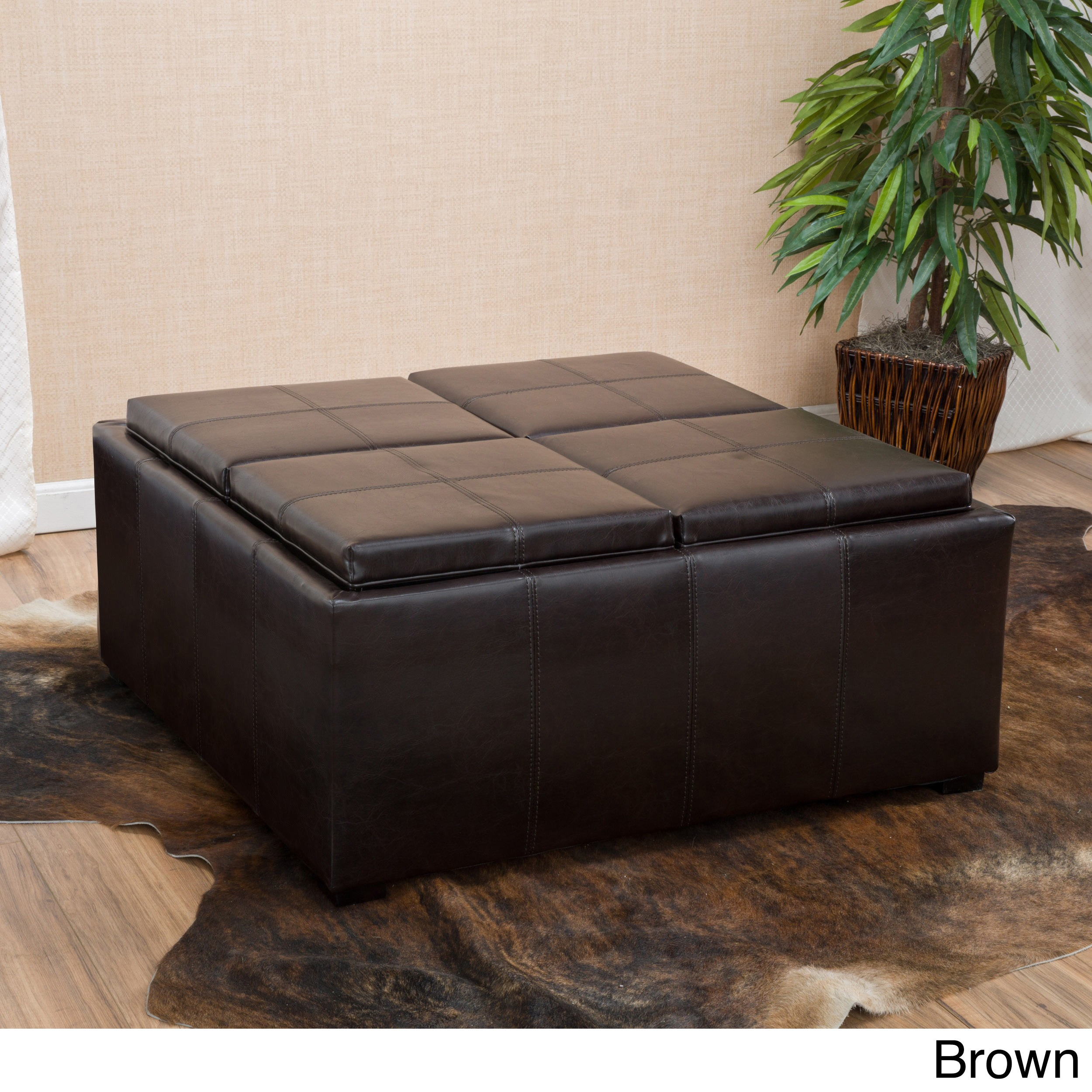 Dartmouth Four Sectioned Faux Leather Cube Storage Ottoman By Christopher  Knight Home (3 Options Available