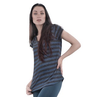 Bluberry Women's Round Neck Cap Sleeve T-Shirt